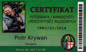 Certyfikat fotografa slubnego