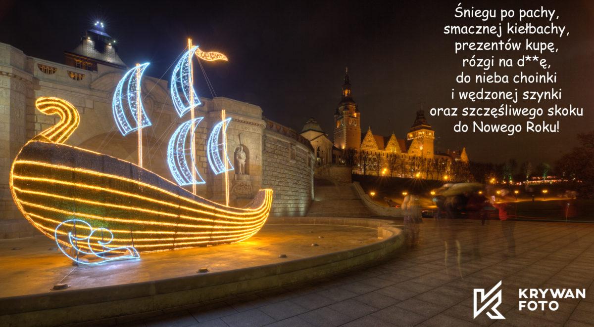 Szczecin nocą, nocny Szczecin, iluminacja Szczecin, iluminacje Szczecin, Święta Szczecin, Świąteczny Szczecin
