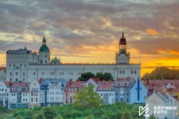 Szczecin nocą, zachód słońca Szczecin, fotografia krajobrazowa, zdjęcia krajobrazowe, Szczecin, Zamek Książąt Pomorskich, fotograf Szczecin, zdjęcia plenerowe