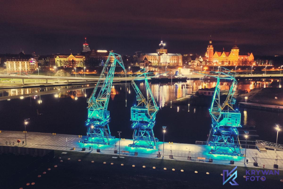 Szczecin nocą z Drona