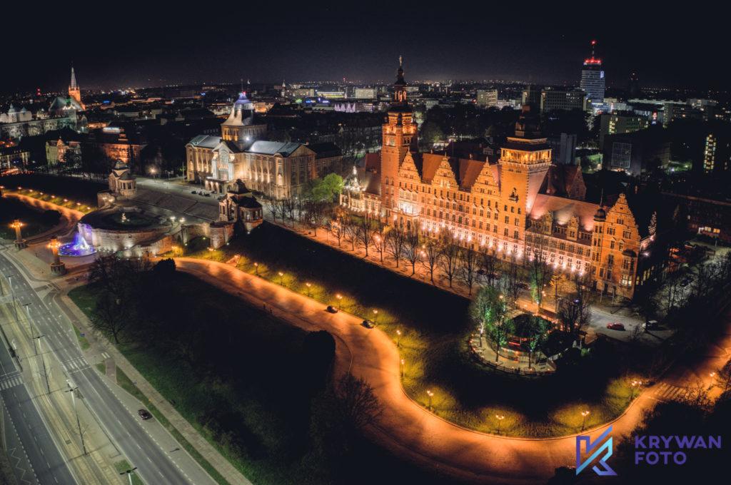 zdjęcia z drona Szczecin, dron Szczecin, filmowanie dron Szczecin, Szczecin Nocą