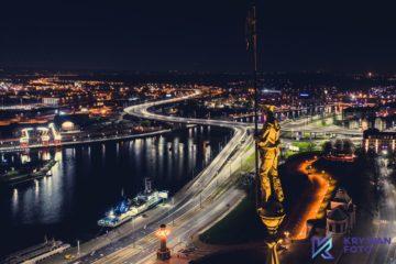 Zdjęcia z drona, fotografia z drona, fotograf dron Szczecin, zdjęcie z drona, dokumentacja lotnicza, dokumentacja fotograficzna, Nocny Szczecin
