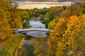 Park Kasprowicza, jesień z drona, zdjęcie z drona, mostek, Szczecin, Szczecin z drona